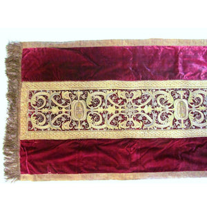 Spanish 17th Century Silk Velvet Runner with Gold and Silver Metal Embroidery