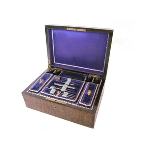 Early French, 19th Century, Olive & Rosewood Sewing Box with Tools
