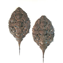 Pair of Belgian 18th Century Brass Repoussé Flame Shield Reflectors