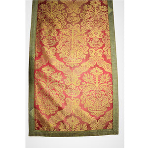 Italian, 16th Century Baroque Raspberry and Ocher Silk Damask Runner