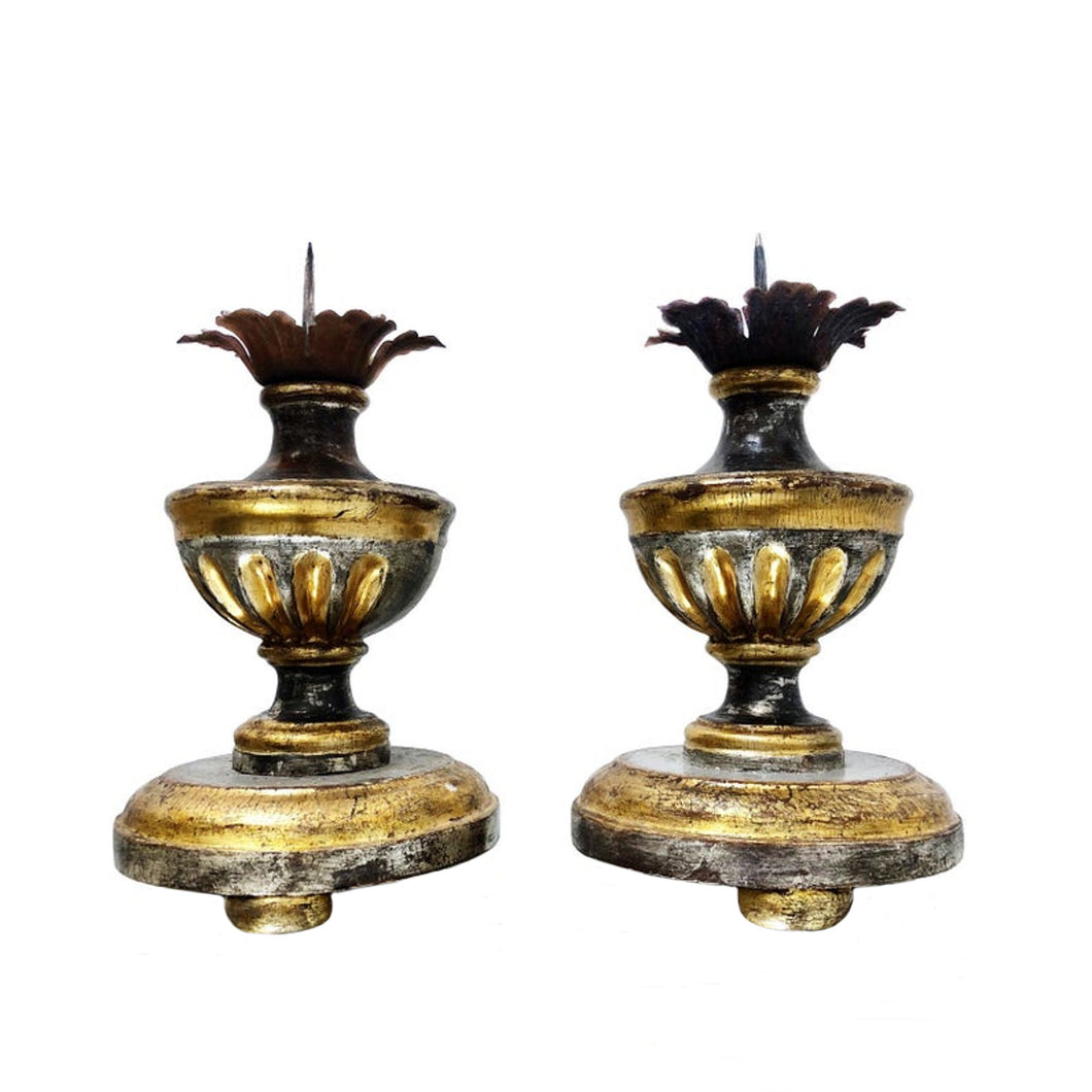 Pair of Italian 18th Century Hand Carved Silver and Gold Gilt Candlesticks