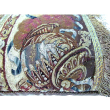 Pair French Gobelin Tapestry Fragment Pillows with Helmet, Plumes and a Grecian Lady