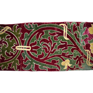 Italian, 17th Century, Appliquéd Runner of Trailing Leaves in Silk Velvet