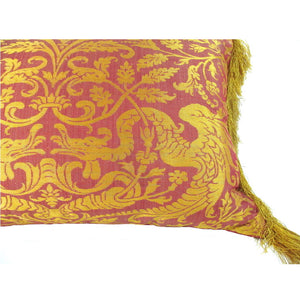 Pair of Italian, 15th Century, Wyverns among Foliage on Silk Brocade Pillows