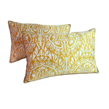 "Pair of Vintage Italian, 1980's Fortuny Pillows ""Piazzetta"" Pattern"