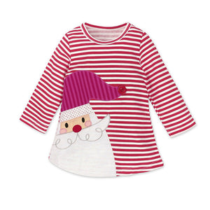 a796a840854a Girls Clothes Girls Dress Toddler Kids Baby Girl Santa Printed Striped Long  Sleeve Princess Party Dress