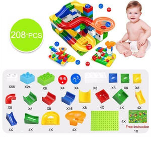 marble race track building blocks - 208 pcs