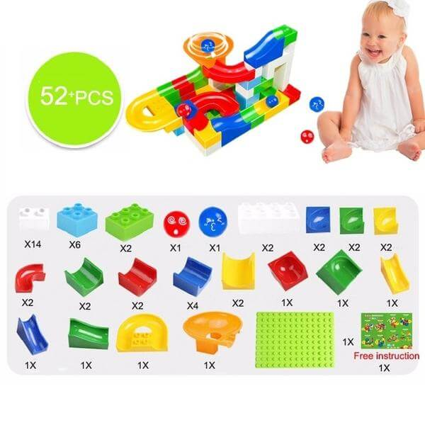 marble race track building blocks - 52 pcs