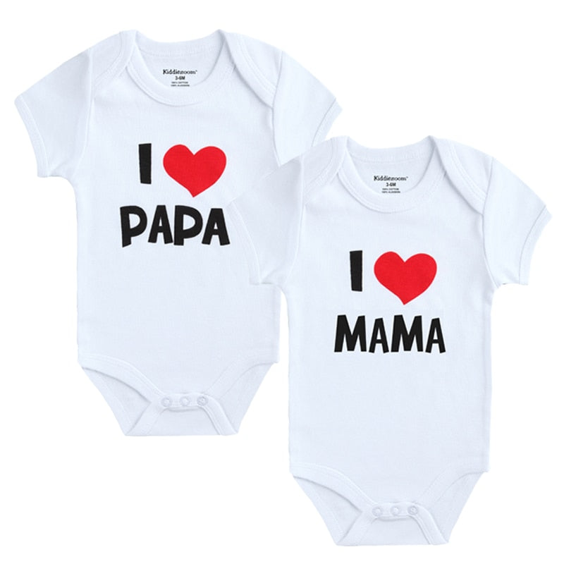 """I Love Momma"" & ""I Love Daddy"" 2 in 1 Onesies!"