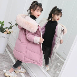 Girls Fur Hooded Winter Parka