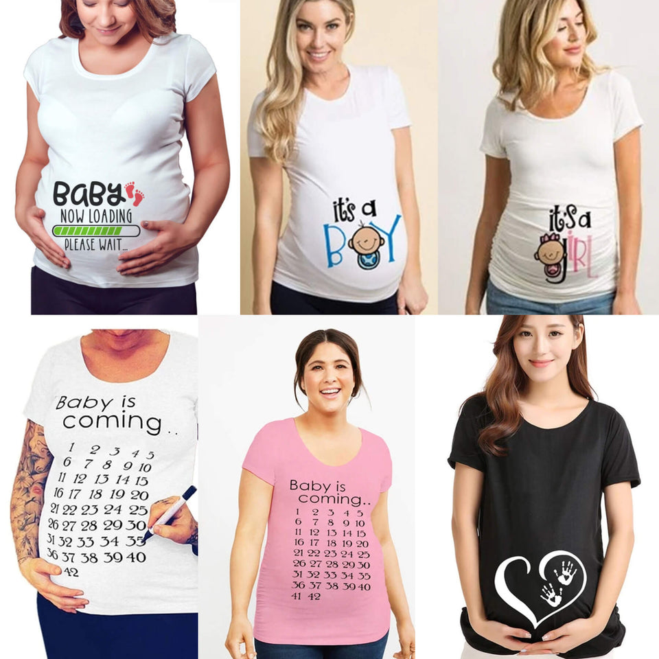 Quirky Gender Reveal and Baby Announcement Maternity Graphic Shirts