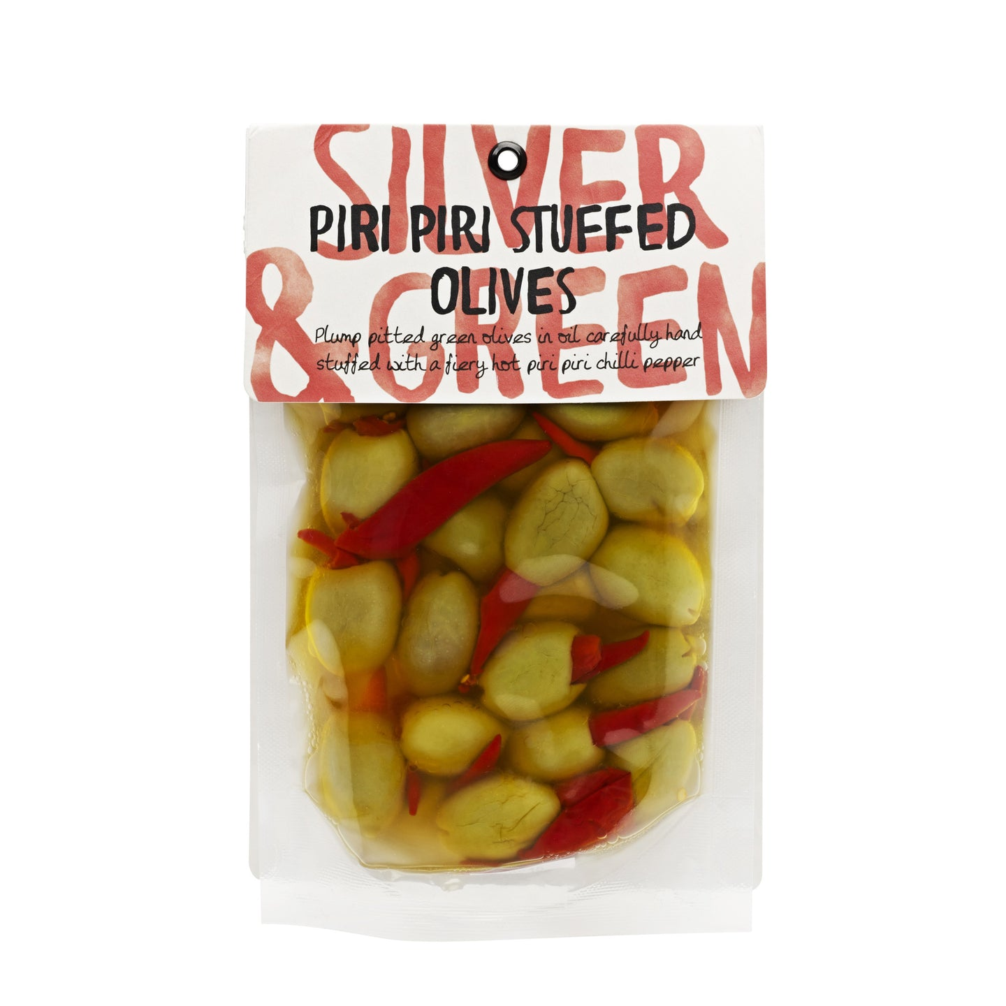 Silver & Green Olives: Piri Piri Stuffed Olives 220 g