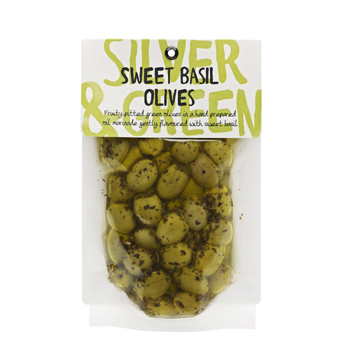 Silver & Green Olives: Sweet Basil Olives 220 g