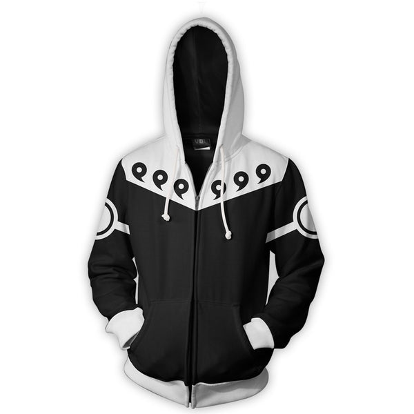 Uchiha Madara Sage Mode Uniform - Naruto Zipper Hoodie - Anime Printed
