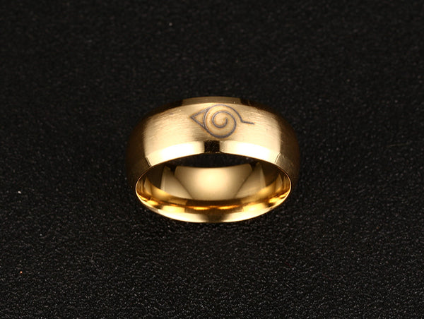 Naruto Konoha Stainless Steel Golden Ring - Anime Printed