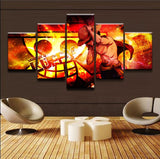 Monkey D Luffy 5pc - Fire Style - One Piece Canvas Printed Wall Poster - Anime Printed