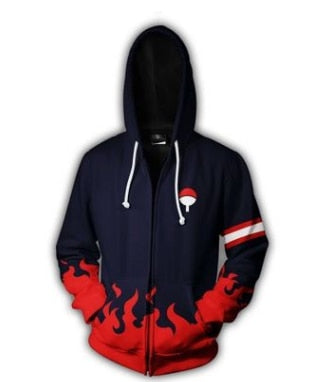 Dark Uchiha Unifrom - Naruto Zipper Hoodie - Anime Printed