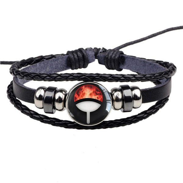 Uchiha Clan Sharingan Leather Double Bracelet - Anime Printed