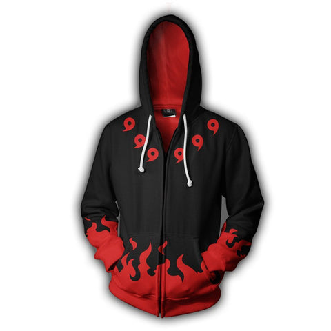Black/Red 4th Hokage Uniform Style Six Path Sage - Naruto Zipper Hoodie - Anime Printed