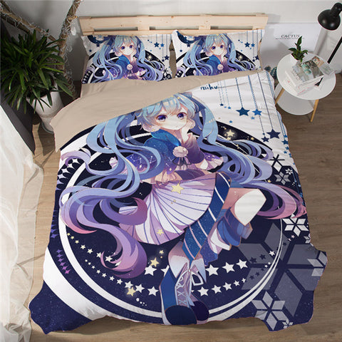For the Camera - Hatsune Miku Bed Sheet - Anime Printed