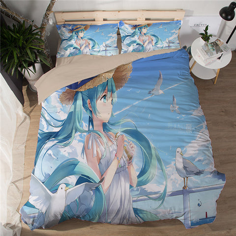With the wind - Hatsune Miku Bed Sheet - Anime Printed