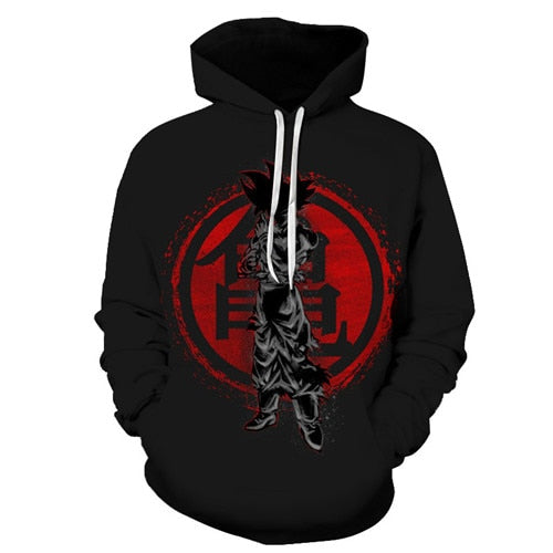 Goku Kanji Dark - Dragon Ball Hoodie - Anime Printed