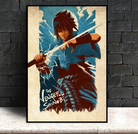 Sasuke The Vengeful Shinobi - Naruto Canvas Printed Wall Poster - Anime Printed