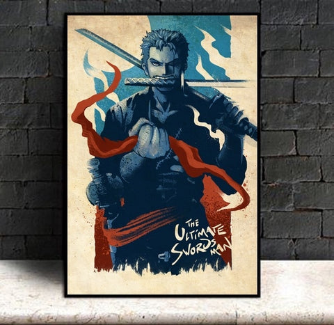 Roronoa Zoro Ultimate Swordsman - One Piece Canvas Printed Wall Poster - Anime Printed