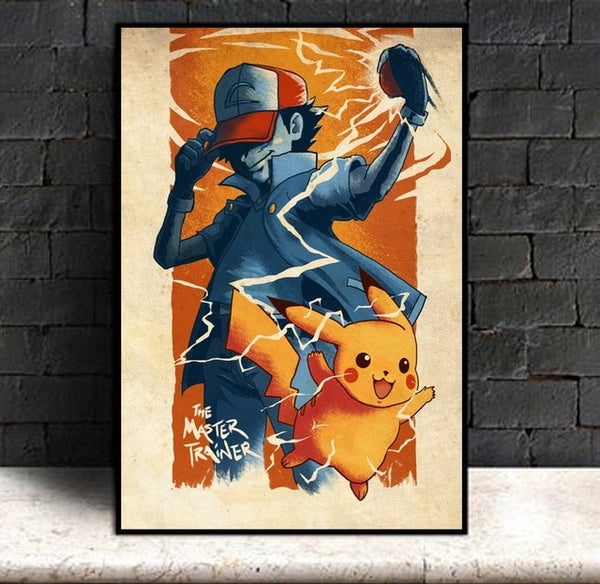 Ash Master Trainer - Pokemon Canvas Printed Wall Poster - Anime Printed