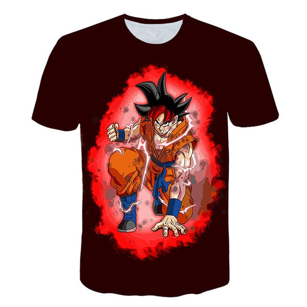 Goku SSJ God Mid-Transformation - Dragon Ball T-Shirt - Anime Printed