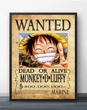 Monkey D Luffy Wanted Poster - One Piece Canvas Printed Wall Poster - Anime Printed