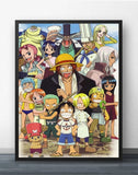 Chibi Strawhat Crew - One Piece Canvas Printed Wall Poster - Anime Printed