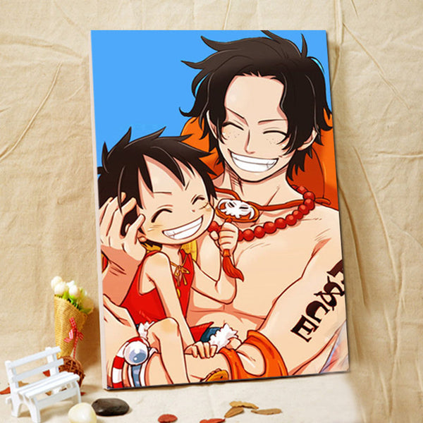 Ace x Chibi Luffy - One Piece Canvas Printed Wall Poster - Anime Printed