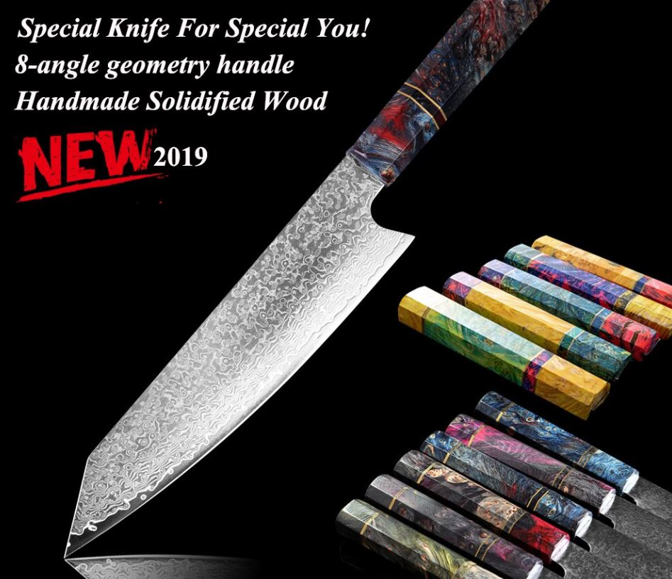 Senshi Handcrafted Japanese Damascus Steel 8 Inch Chef Knife