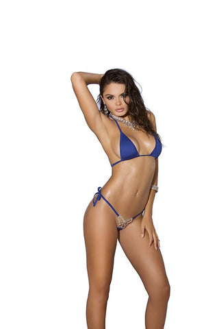 Lycra bikini top and matching g-string with rhinestone jewel accent.