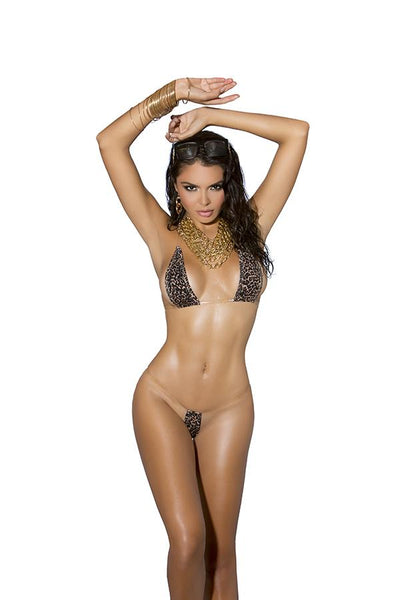 Lycra bikini top and matching g-string with clear elastic trim.