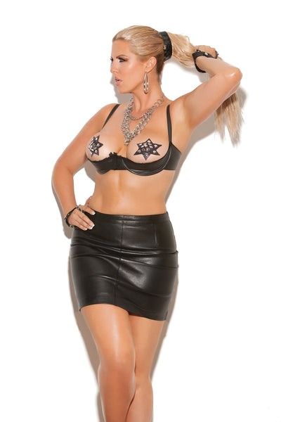 LEATHER SHELF BRA W/LACE TRIM