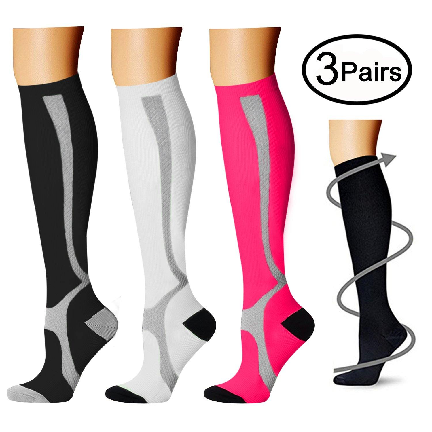 QUXIANG Compression Socks for Women /& Men Circulation 3//6//7 Pairs Arch Ankle Support 15-20 mmHg Best for Running Cycling