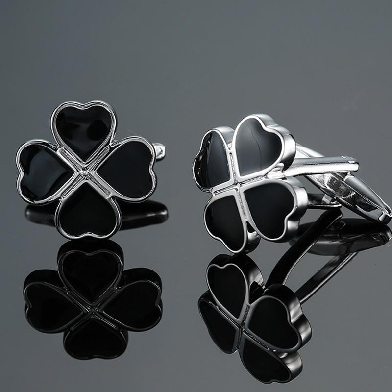 Brass Black Enamel Leaf Cufflinks
