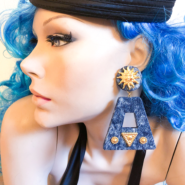 Denim Door Knocker Earrings