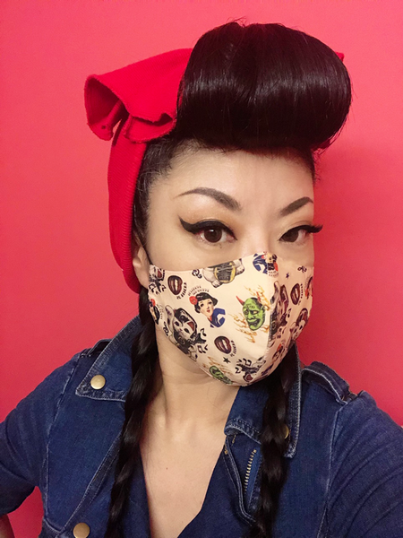 Rockabilly Lucky Cat Face Mask Art work by Reiko Lauper