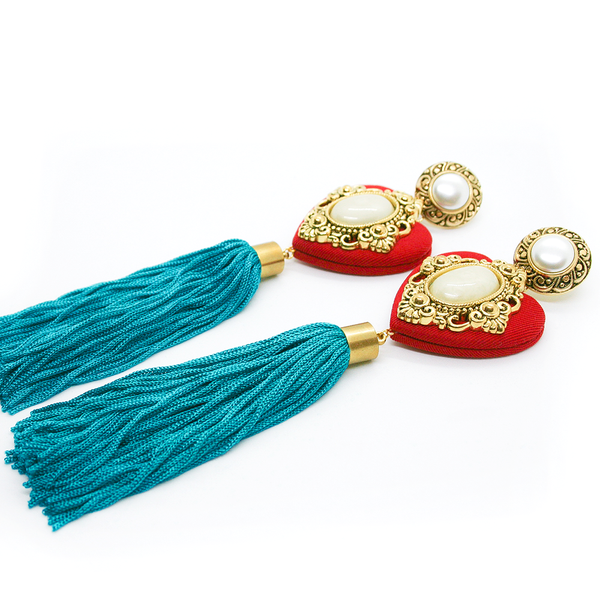 Heart Tassel Earrings