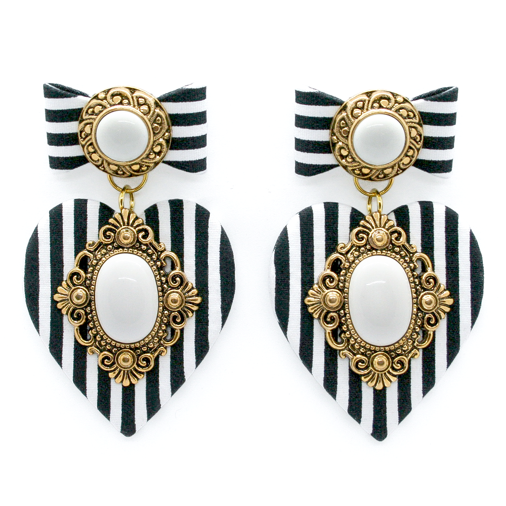 Stripe Heart Earrings