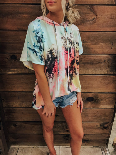 Tie Dye Short Sleeve Hoodie With Drawstring