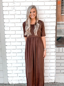 Half Sleeve Scoop Neck Maxi Dress