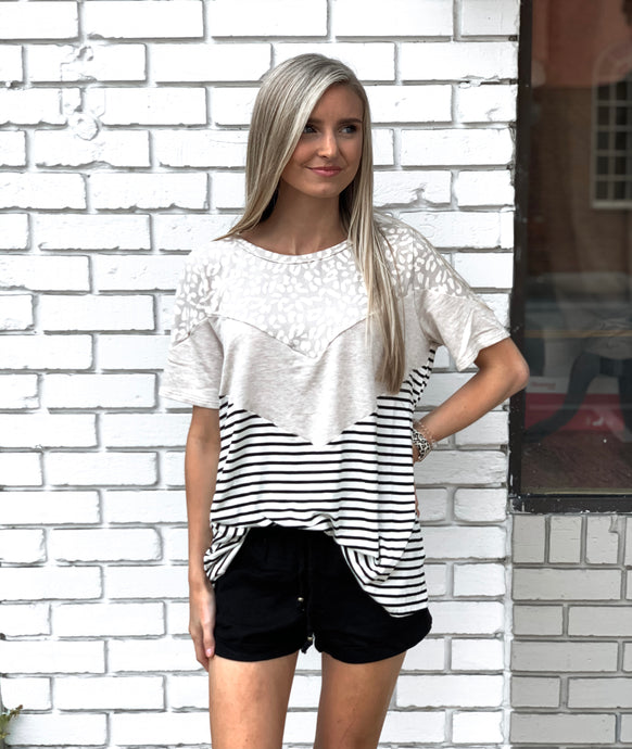 Leopard Color Block Stripe Top