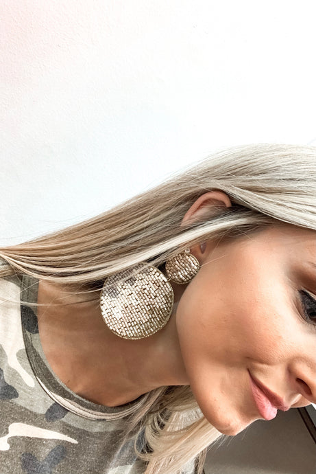 Kaylee Circle Earrings-Tan