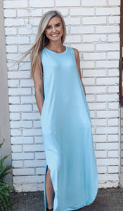 Sleeveless Round Neck Maxi Dress-Baby Blue