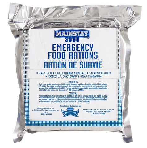 Mainstay Emergency Food Ration, 3600 Calorie Bar, SOS Food Lab