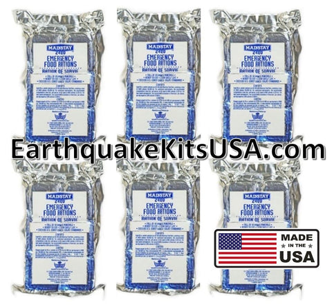 Mainstay Emergency Food 2400-cal Bars (Pack of 6) 12 Day Rations (36 Servings 3x400cal/per/day), Made in the USA by SOS Food Lab